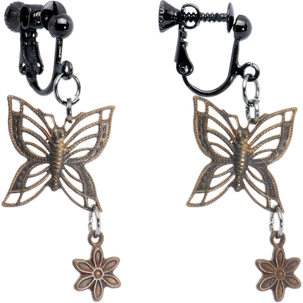 Handcrafted Vintage Flower Butterfly Clip On Earrings