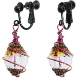 Handcrafted Crystal Ball Clip Earrings