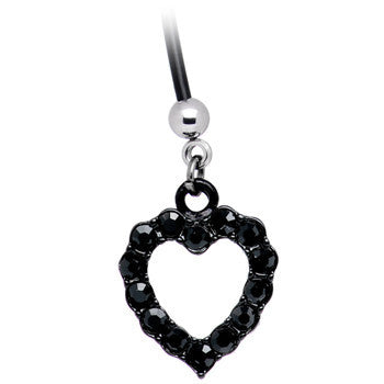 Black Heart Outline Rhinestone Pregnant Belly Ring
