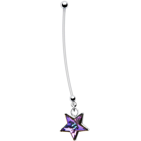 Vitrail Light Star Pregnant Belly Ring Created with Swarovski Crystals