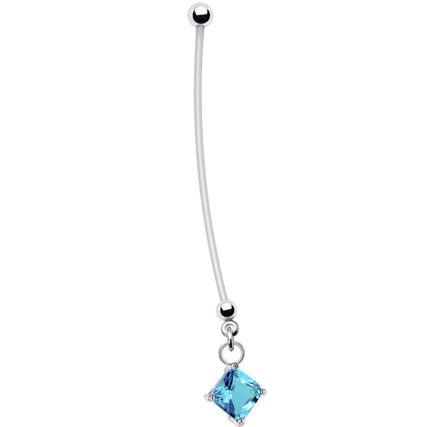 Handcrafted Blue Block CZ Pregnant Belly Ring