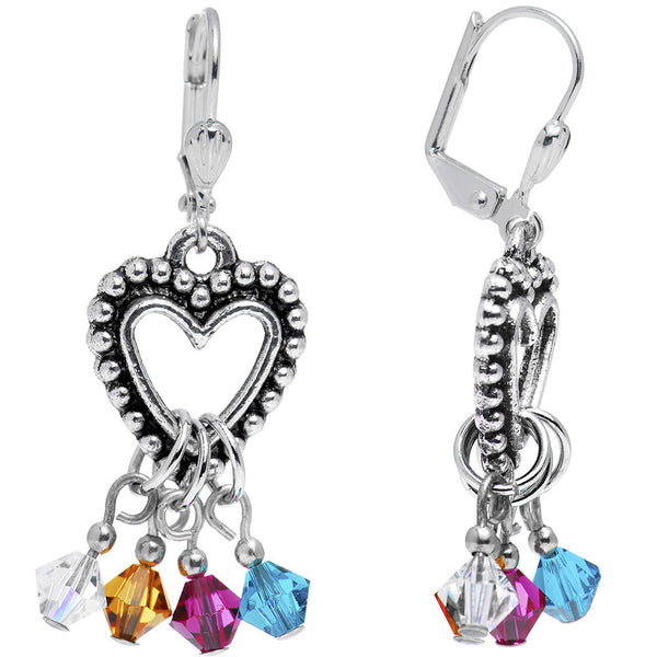 Handcrafted Personalized Heart Mothers Earrings Created with Swarovski Crystals
