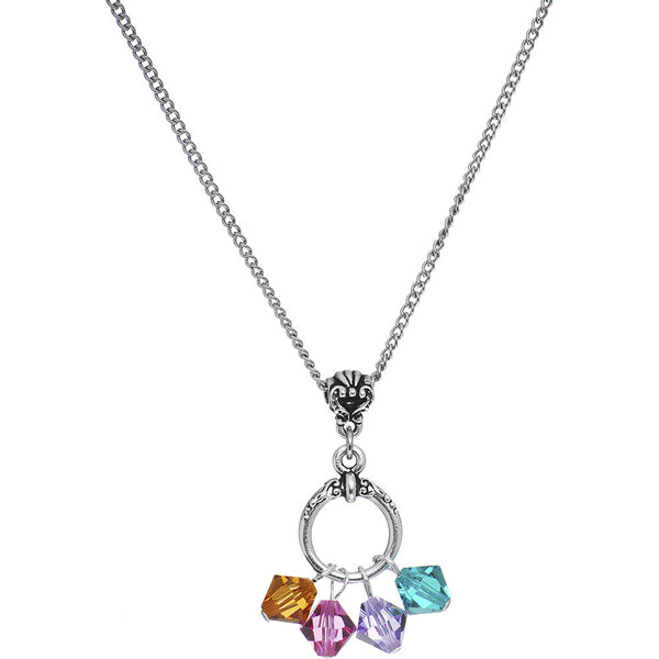 Handcrafted Personalized Mothers Necklace Created with Swarovski Crystals