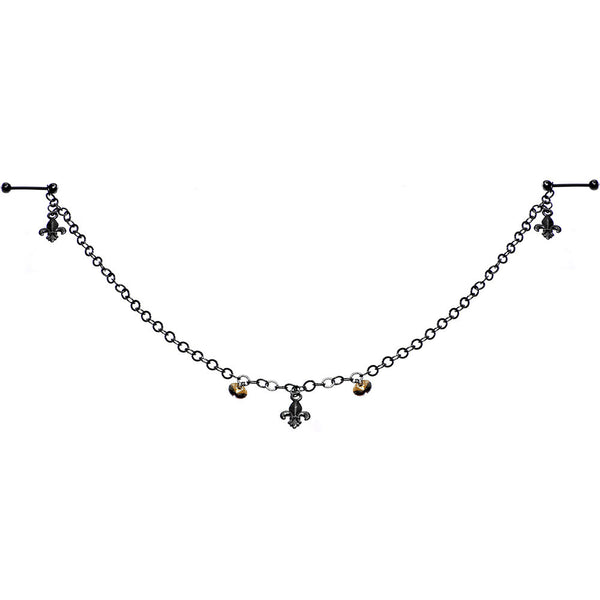 Fleur de Lis Barbell Nipple Chain Created with Swarovski Crystals