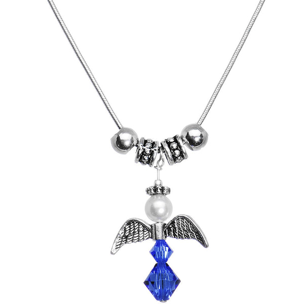Handcrafted Angel Birthstone Personalized Mother Necklace MADE WITH SWAROVSKI ELEMENTS