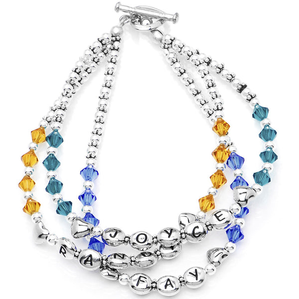 Handcrafted Name Birthstone Personalized Mother Toggle Bracelet MADE WITH SWAROVSKI ELEMENTS
