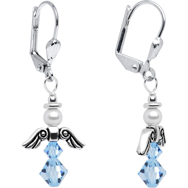 March Birthstone Angel Earrings Created with Swarovski Crystals