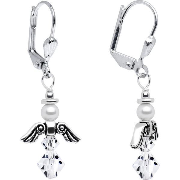 April Birthstone Angel Earrings Created with Swarovski Crystals