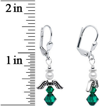 May Birthstone Angel Earrings Created with Swarovski Crystals