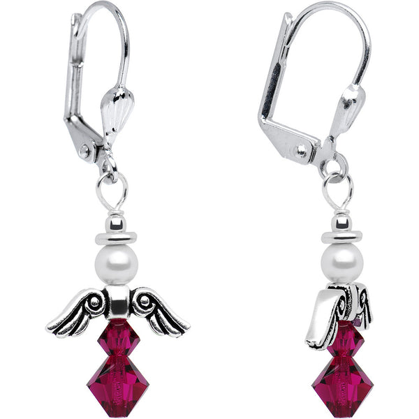 July Birthstone Angel Earrings Created with Swarovski Crystals
