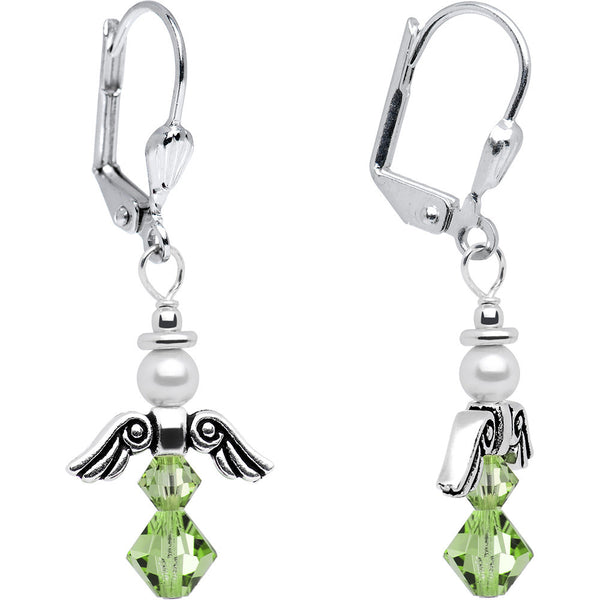 August Birthstone Angel Earrings Created with Swarovski Crystals