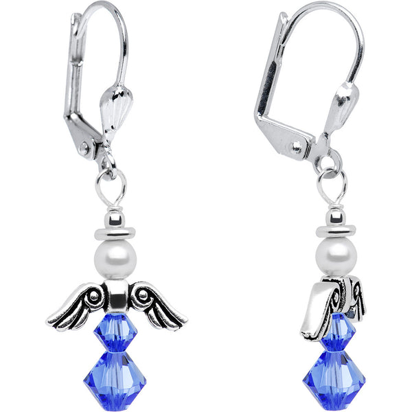 September Birthstone Angel Earrings Created with Swarovski Crystals