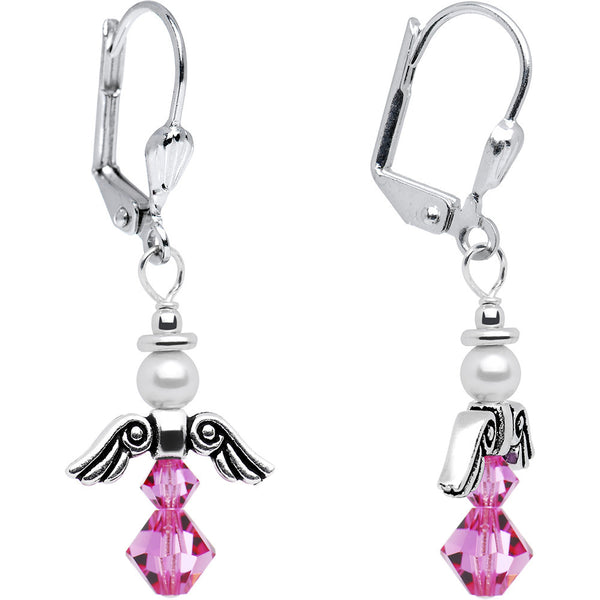 October Birthstone Angel Earrings Created with Swarovski Crystals