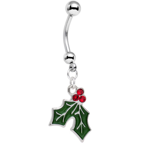 Holiday Mistletoe Dangle Belly Ring Created with Swarovski Crystals