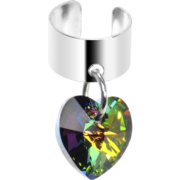 Heart Dangle Ear Cuff Created with Swarovski Crystals