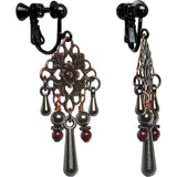 Handmade Antiqued Floral Clip Earrings Created with Swarovski Crystals