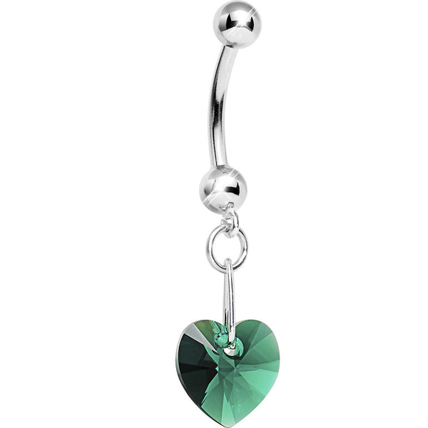 14K White Gold May Heart Belly Ring Created with Swarovski Crystals