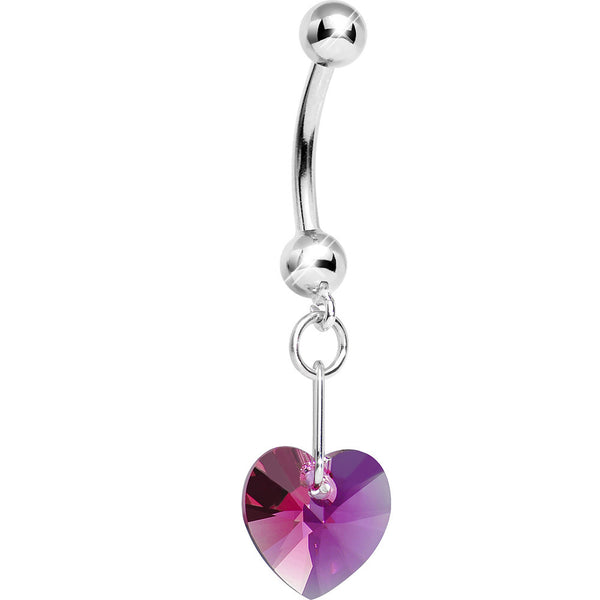 14K White Gold July Heart Belly Ring Created with Swarovski Crystals