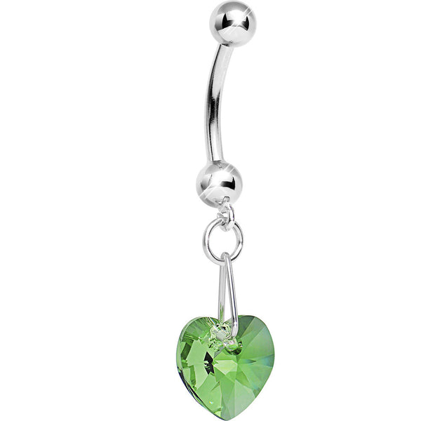 14kt White Gold August Heart Belly Ring Created with Swarovski Crystals