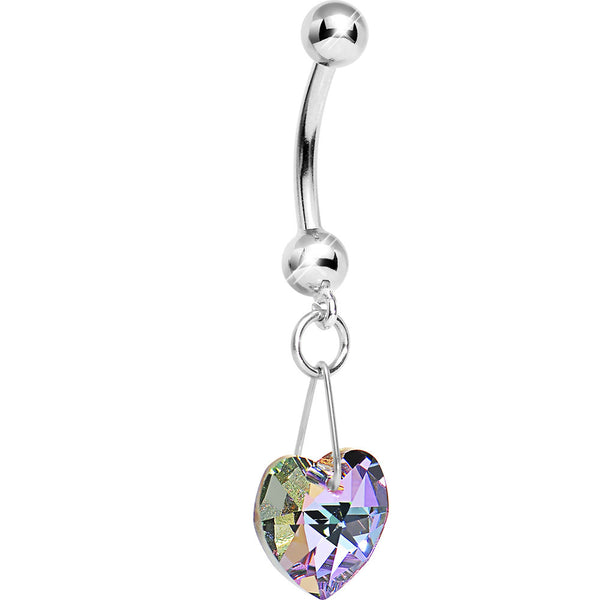 14K White Gold Pink Heart Belly Ring Created with Swarovski Crystals