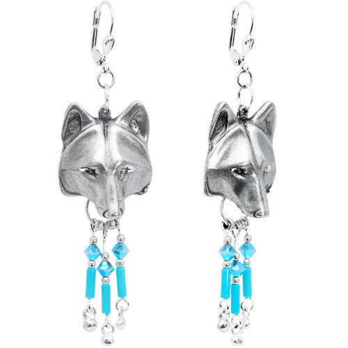 Native American Wolf Earrings Created with Swarovski Crystals
