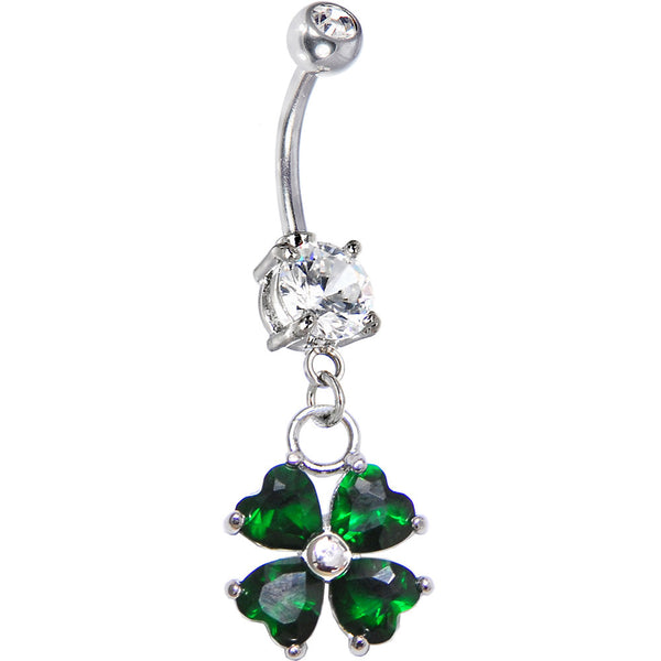 Artisan Crafted Emerald Green Heart Shamrock Belly Ring