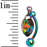 Top Mount Titanium Heart Belly Ring Created with Swarovski Crystals