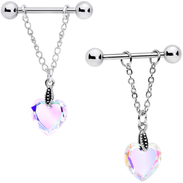 Aurora Heart Chain Nipple Ring Set Created with Swarovski Crystals