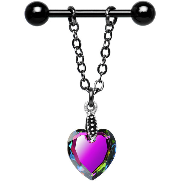 Vitrail Heart Nipple Ring Set Created with Swarovski Crystals