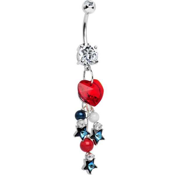 Handcrafted American Patriotic Sweetheart Dangle Belly Ring