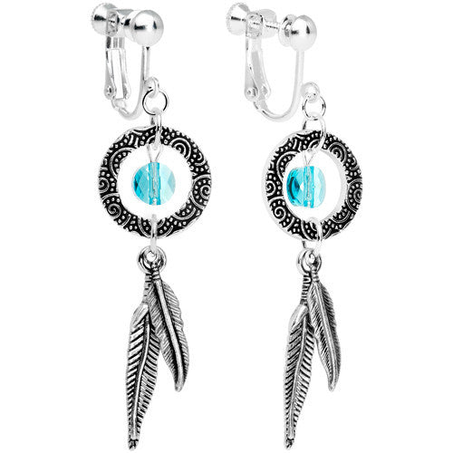 Dreamcatcher Dangle Clip On Earrings Created with Swarovski Crystals