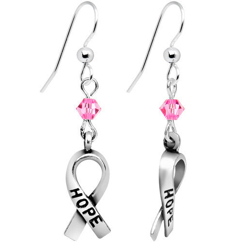 0830be858 Pink Crystal Breast Cancer Earrings Created with Swarovski Crystals ...