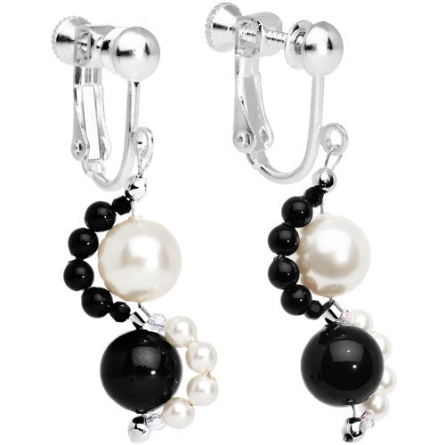 Pearl Tuxedo Clip Earrings Created with Swarovski Crystals