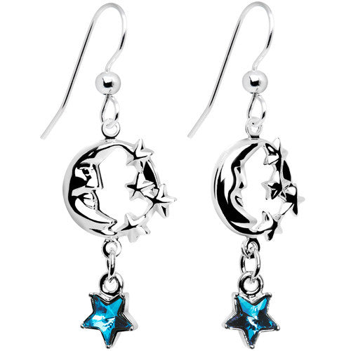 Celestial Star Moon Earrings Created with Swarovski Crystals