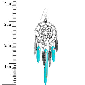 Handcrafted Native American Turquoise Stone Dreamcatcher Earrings