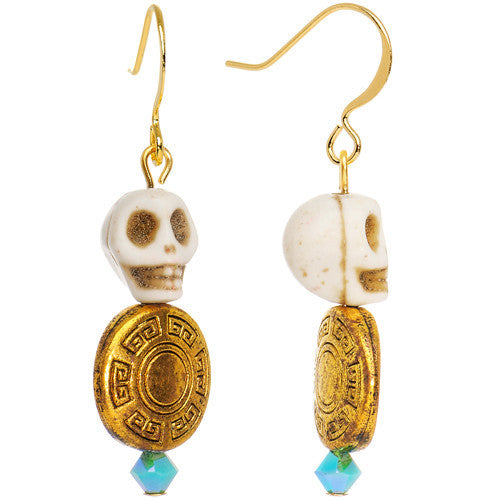 Day of the Dead Dangle Earrings Created with Swarovski Crystals