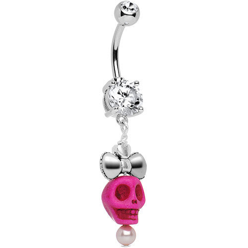 Crystalline Gem Ribbon Pink Skull Dangle Belly Ring