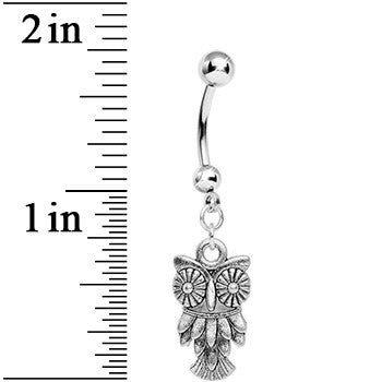 Silver Tone Owl Dangle Belly Ring