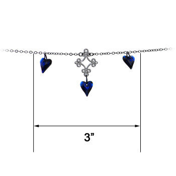 Handcrafted Passion Heart Belly Chain Created with Swarovski Cystals