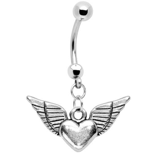 Winged Heart Stainless Steel Belly Ring
