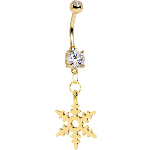 Gold Plated Snowflake Gem Belly Ring
