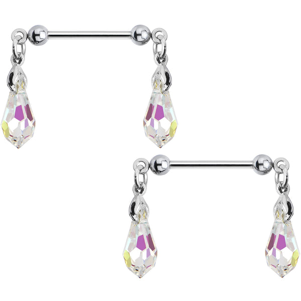 Aurora Crystal Nipple Ring Set Created with Swarovski Crystals