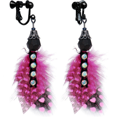 Handcrafted Seductive Pink Polka Dot Clip On Earrings MADE WITH SWAROVSKI ELEMENTS