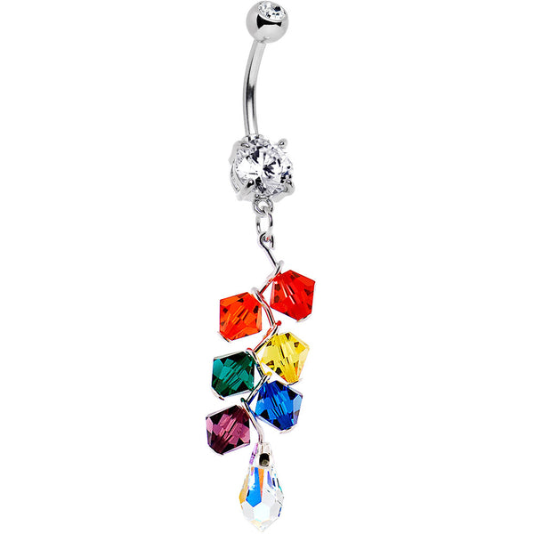 Handcrafted Rainbow Drop Belly Ring Created with Swarovski Cystals