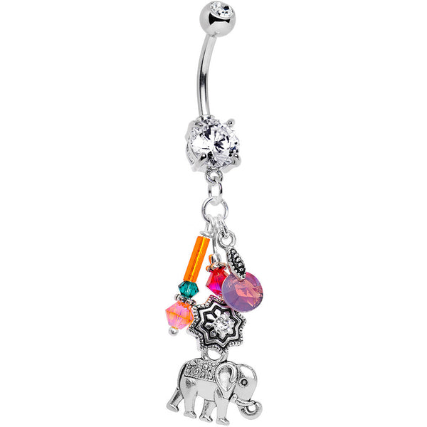 Handcrafted Elephant Dangle Belly Ring Created with Swarovski Crystals