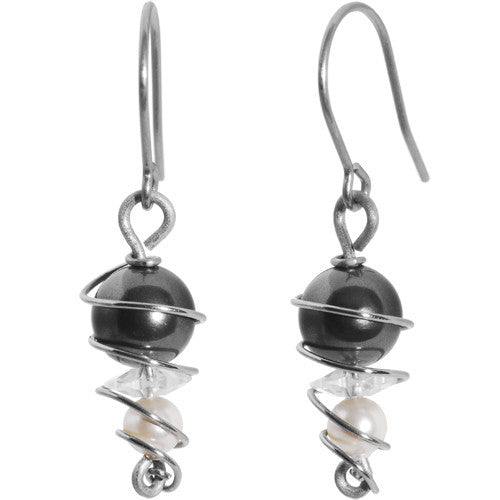 Faux Pearl Titanium Earrings Created with Swarovski Crystals