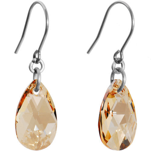 Colorado Teardrop Titanium Earrings Created with Swarovski Crystals