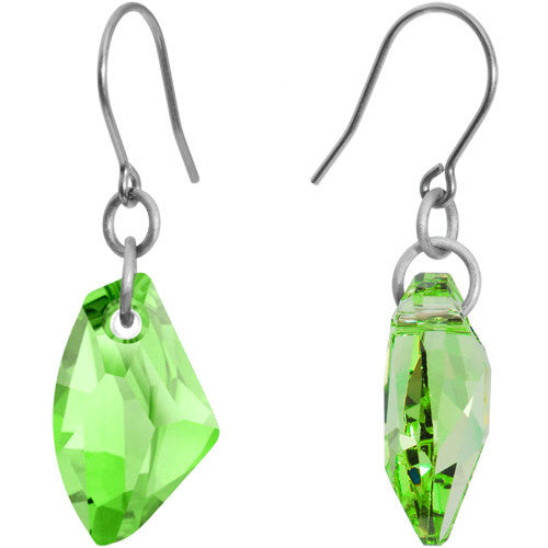 Peridot Galactic Titanium Earrings Created with Swarovski Crystals