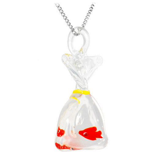 Cute Carnival Goldfish Glass Pendant Necklace