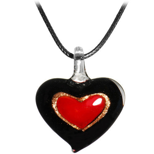 Glass Inner Heart Pendant Leather Necklace